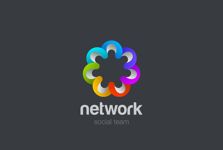 working together: Social network Logo design vector template. Team work web concept flower.  Partnership Friendship teamwork Logotype. Community star union group flower icon. Illustration