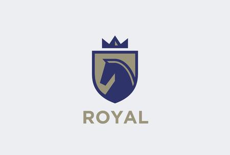 Royal Horse op Schild met Kroon Logo ontwerp vector template. Equestrian Logotype embleem pictogram vintage stijl. Stock Illustratie