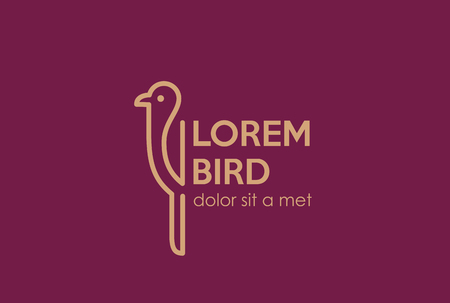 lineart: Bird abstract Logo design vector template Linear style.  Trendy outline lineart Logotype icon.