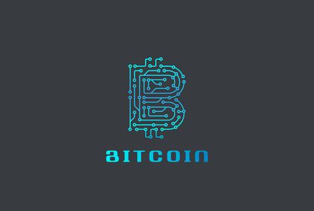 디지털 칩 비트 코인 로고 디자인 벡터 템플릿입니다. FINTECH Blockchain 로고 아이콘