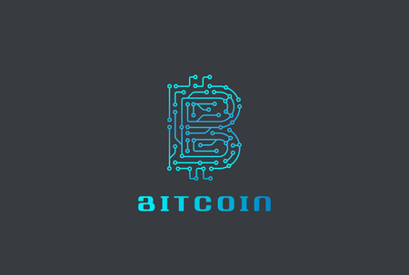 Digital Chip Bitcoin Logo design vector template.  Fintech Blockchain Logotype icon