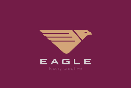 falcons: Eagle Logo design vector template. Luxury style.  Falcon Logotype concept Hawk icon triangle V letter shape. Illustration