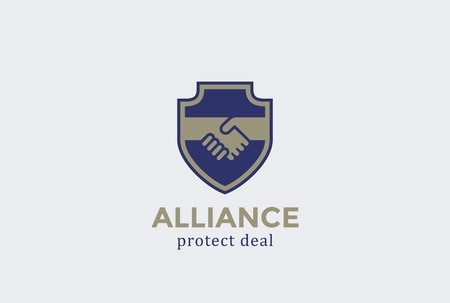 Shield Protect Deal Handshake Logo design vector template.  Defend Contract symbol. Law, Lawyer, Alliance, Union Logotype concept icon