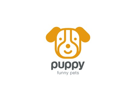 Funny Dog Logo design vector template. Doggy Puppy head icon.  Home pets Logotype concept linear style. Outlined illustration.