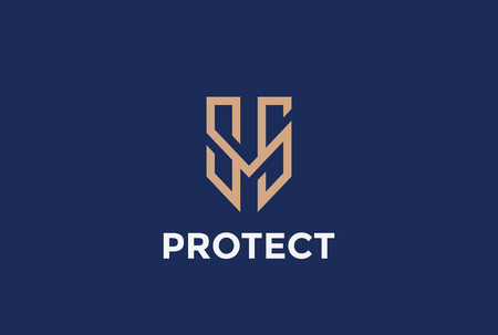 defend: Shield Protection Logo letter M vector design template linear style.  Protect Logotype. Defend concept icon