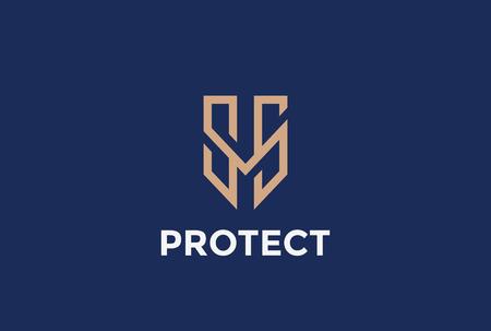 Protección escudo carta logotipo del estilo de diseño de la plantilla M vector lineal. Proteger de logo. Defender concepto de icono