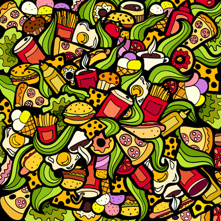 wallpaper doodle: Colorful bright Doodle background Fastfood theme abstract.  Creative fast food pattern wallpaper. Illustration