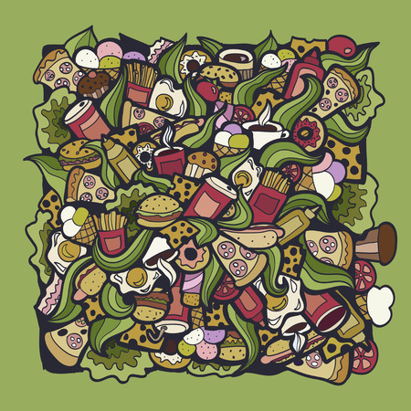 Colorful bright Doodle background Fastfood theme abstract.Creative fast food pattern wallpaper. Vektoros illusztráció