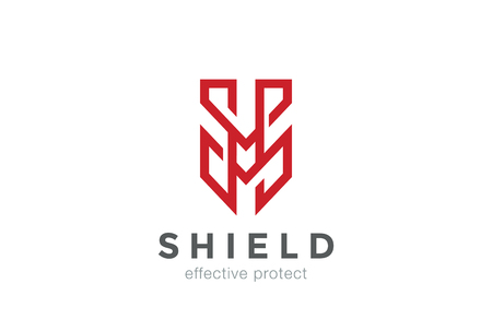 protect: Shield Protect  letter M vector design template linear style. Protection . Defend concept icon Illustration