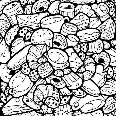 food shop: Black and White Doodle background Coffee shop Bakery Linear style theme abstract.  Creative food pattern Coffee-shop wallpaper.