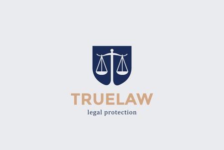Scales Schild Advokaturbüro Logo Design-Vorlage Vektor Negative Raum. Richter Rechtsanwalt Attorney Anwalt Rechts Signet Konzept Symbol