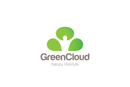 negative: Green Man Cloud Eco Logo design vector template Negative space.  Ecology Happy life Logotype concept icon.