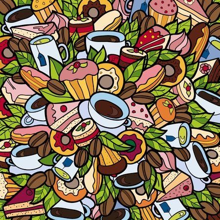 food shop: Colorful bright Doodle background Coffee shop Bakery theme abstract linear style.  Creative food pattern Coffee-shop wallpaper. Illustration