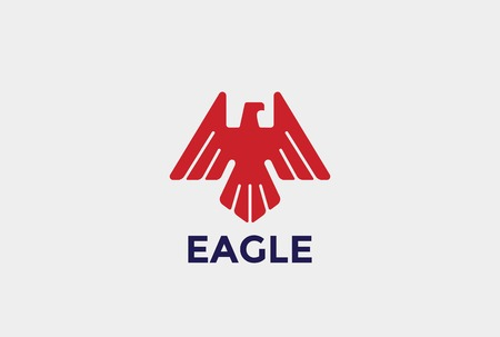 Heraldic Eagle Bird abstract silhouette Logo design vector template. Falcon Hawk Heraldry Luxury symbol emblem Logotype concept icon