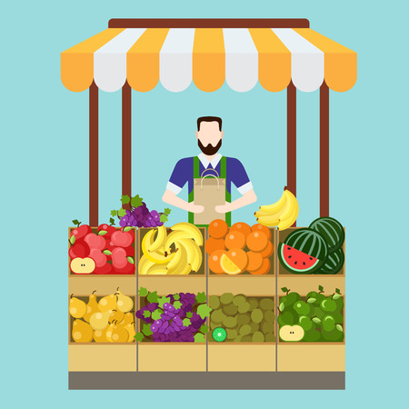 food market: Food market fruit shop salesman sale process. Flat style modern professional job related icon man workplace objects. Showcase box bag apple banana orange kiwi grapes pear. People work collection