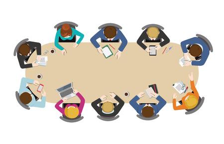 Bürotisch Draufsicht Geschäftsflachbahn Infografik Konzept Vektor. Mitarbeiter rund um Tisch arbeiten Tablet Laptop leer Hintergrund. Brainstorming Bericht Planung. Kreative Menschen Kollektion. Vektorgrafik