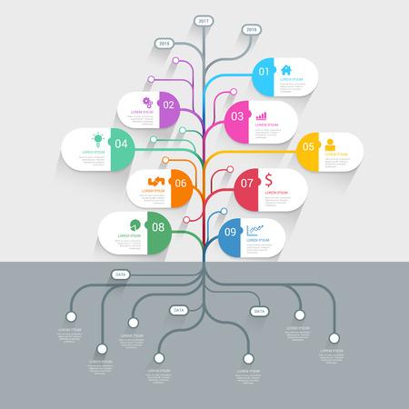 スタイリッシュなツリー タイムライン プロセス歴史マインド マップ ビジネス infographics テンプレート モックアップ。Web サイト インフォ グラフィ