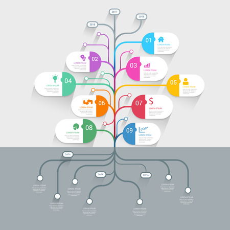cronogramas: Elegante línea de tiempo del árbol plantilla de infografía de negocio historial del proceso mindmap maqueta. El sitio Web infografía colección conceptos de fondo.