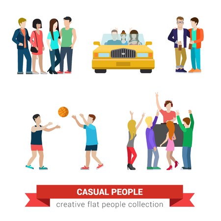 car clothes: Flat style modern people casual clothes icons situations web template infographic vector icon set. Young couple in car friends basketball DJ party. Creative people collection.