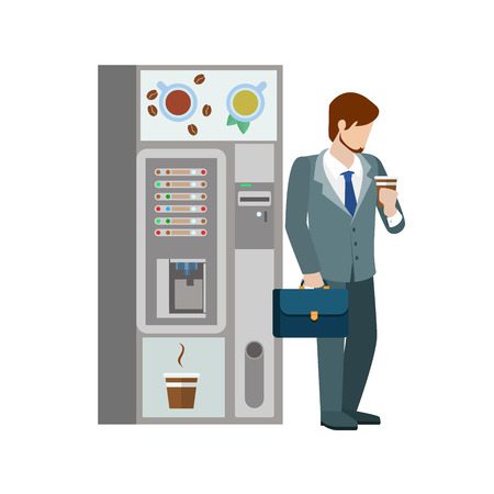 automatic machine: Young businessman manager drink hot beverage cup before coffee automatic machine. Flat people lifestyle situation coffee break. Young creative human vector illustration collection.