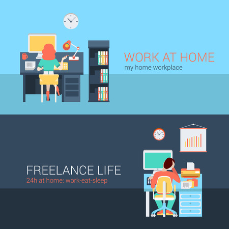 sitting at table: Set of young man woman home office freelance homework laptop table workplace back view. Flat people lifestyle situation work at home concept. Vector illustration collection of young creative humans. Illustration