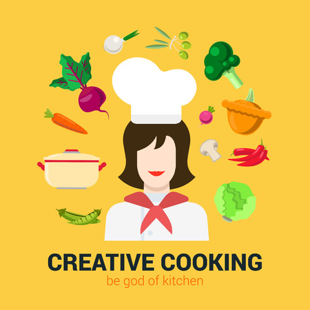 food ingredient: Flat style modern fresh creative cooking concept. Happy smiling female kitchen professional chief and vegetable soup food ingredient icon set. Cafe restaurant conceptual collection.