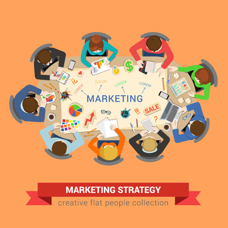 graphic business diagram collection: Marketing sale brainstorm concept. Round office table top view business flat web infographic concept vector. Staff around table chart bar circle diagram graphic. Creative people collection.