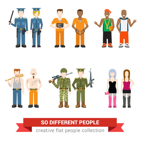 Gangsta drug dealer prostitute hooker outlaw robber bandit military army officer prisoner jailbird policeman people flat avatar user profile icon vector illustration set. Creative people collection.
