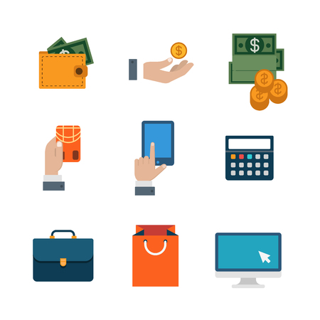 transaction: Flat web site interface finance online shopping banking payment transaction infographics icon set. Wallet money dollar banknote coin calculator tablet credit card internet concept icons collection.