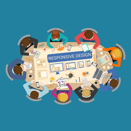 Responsive creatie ontwerp prototyping UI-UX ontwerpproces concept. Kantoor tafel bovenaanzicht bedrijf plat web infographic begrip vector. Personeel rond de tafel ander apparaat desktop laptop tablet telefoon Vector Illustratie