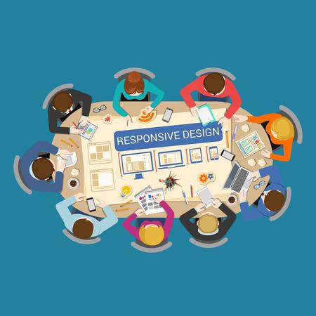 schöpfung: Responsive Design-Erstellung Prototyping UI UX Design-Prozess Konzept. Bürotisch Draufsicht Geschäftsflachbahn Infografik Konzept Vektor. Mitarbeiter rund um Tisch verschiedene Geräte Desktop Laptop Tablette Telefon Illustration