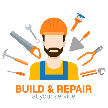 people  male: Flat style modern professional build repair construction job related icon man workplace objects. Male figure in helmet with tools. People at work collection.
