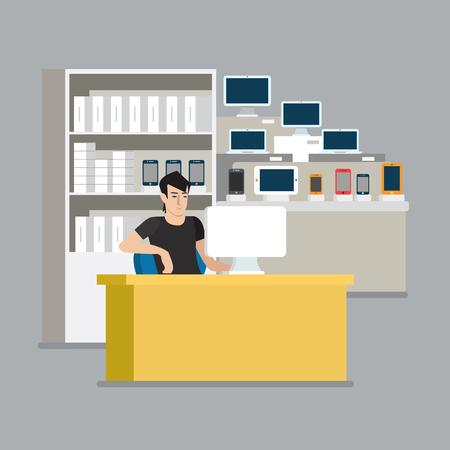 icono ordenador: teléfono inteligente equipo de punto de venta de la tableta escaparate vendedor. estilo plana modernos profesionales de iconos relacionados con el trabajo del hombre el lugar de trabajo objetos. Escaparate de la caja del teléfono portátil PC de valores. La gente trabaja colección. Vectores