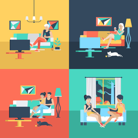 solitude: Set of family couple alone solitude female friendship in living room watch TV. Flat people lifestyle situation relax leisure time concept. Vector illustration collection of young creative humans. Illustration