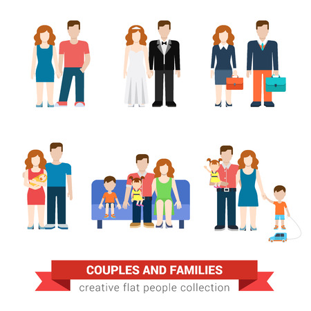 parenting: Family couple flat style people newlyweds parenting parents children kids son daughter wife husband boy girl infant infographics user interface profile icons set isolated illustration collection Illustration