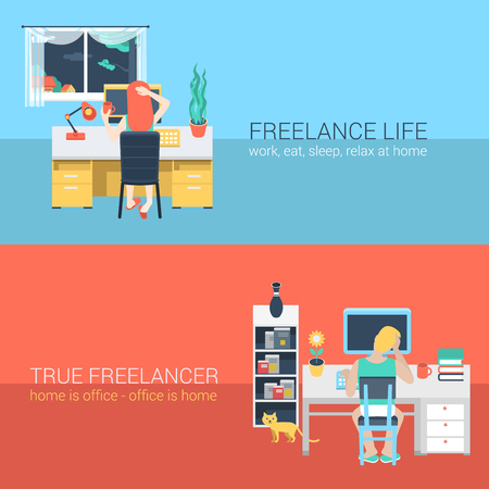 sit back: Set of young man woman home office freelance homework laptop table workplace back view. Flat people lifestyle situation work at home concept. Vector illustration collection of young creative humans. Illustration