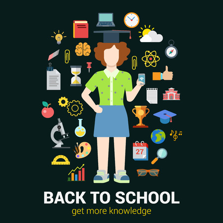 classes schedule: Flat style education infographics icon set concept collage. High school young female graduate student girl with smartphone and knowledge objects. Back to school collection. Illustration
