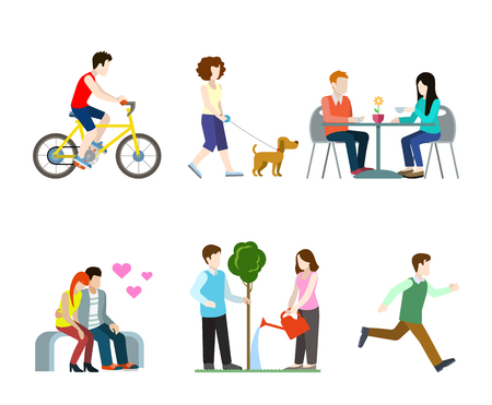 dog walker: Flat high quality city street pedestrians icon set. Bicycle rider dog walker cafe table bench romantic lovers tree watering runner. Build your own world web infographic collection.