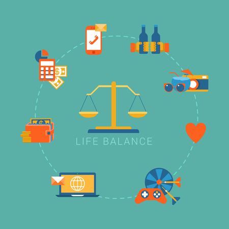 Flat life balance lifestyle concept. Scales weights icon and work income finance strategy love romance shopping friendship aspects.