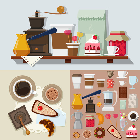 cafe table: Flat style confectionery dessert candy shop icons objects kit template mockup. Icon set sweet products tools to build cafe table. Kits collection. Illustration