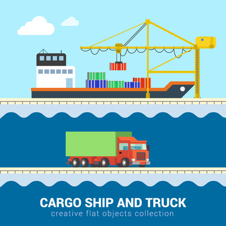 sea transport: Flat 3d isometric funny cartoon cargo delivery sea ocean road transport icon set. Truck van automobile wagon motor lorry container ship port loading. Build your own world web infographic collection. Illustration