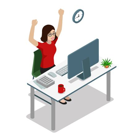 work task: Flat style 3d isometric businesswoman manager accountant raising hands up. Success in business, well done work task concept. Creative people collection.