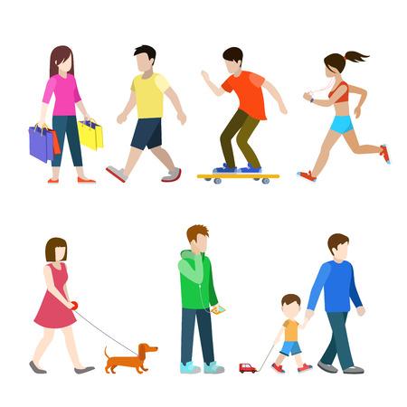 peatones ciudad plana de alta calidad conjunto de iconos. Shopper perro corredor dachshund perro andador hijo padre patinar bordo jinete. Construir su propia colección infografía mundo web.