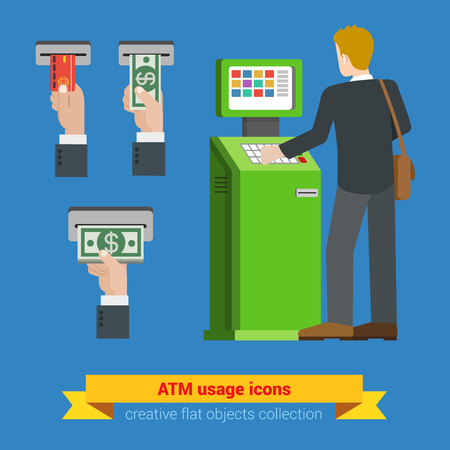 teller: ATM terminal usage bank credit card money banknote icons. Payment options banking finance money flat 3d web isometric infographic vector. Creative people collection.