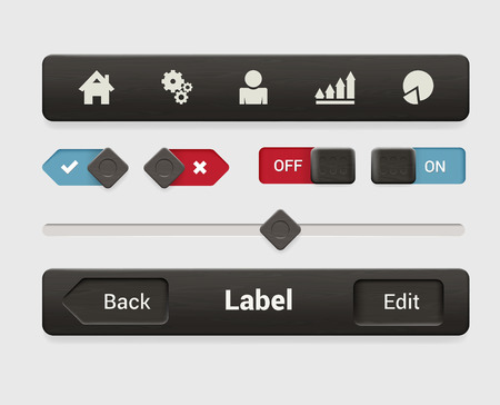 navigation bar: Stylish brushed metal texture mobile app smartphone tablet web interface element set. Dark metallic textured tab navigation bar radio switch button slider. Interfaces elements collection.