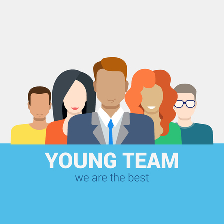 staff team: Flat style modern web infographic corporate human relations HR teamwork workforce team time and staff management concept. Creative people young businessmen collection. Illustration