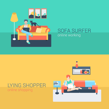 man at the phone: Flat style set people sofa leisure relax online activity. Sitting man laptop internet web site surfing. Lying young woman living room laptop shopping internet order. Creative people collection.