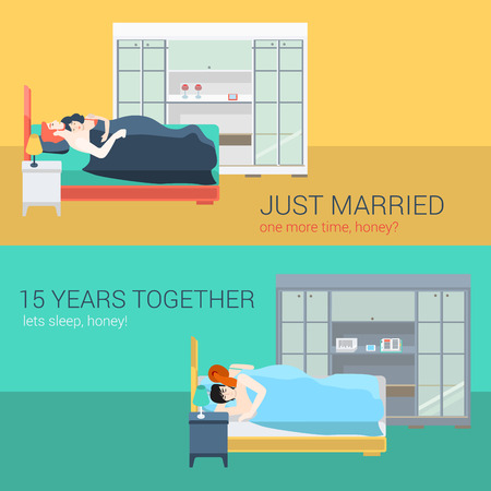 Set of family couple in bedroom bed sleeping love romance. Flat people lifestyle situation husband wife family concept. Vector illustration collection of young creative human.
