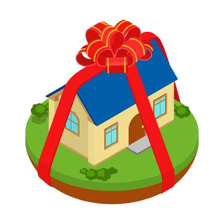 gift wrapped: Flat 3d isometric gift present stripe ribbon bow wrapped house on island infographic  icon concept. Web isometry infographics collection.