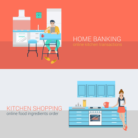 man at the phone: Flat style set people sofa leisure kitchen relax online activity. Sitting man laptop online banking. Young woman stove tablet meal ingredient order. Creative people collection.